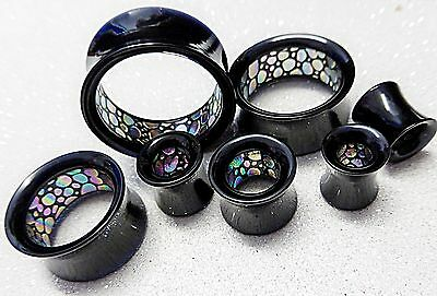 Black Acrylic Ear Saddle Tunnel Abalone ring 8 10 12 14 16 19 22 25mm Sold p/pce