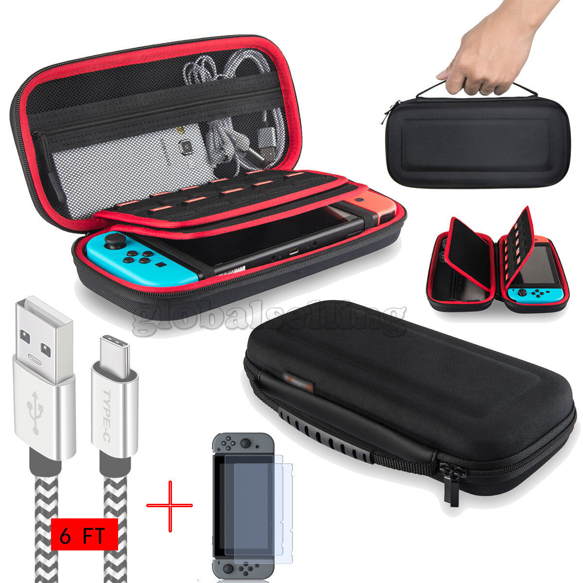 For Nintendo Switch Travel Carrying Case Bag+6ft/2M Charging Cable+Cle... - s l1600