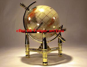 Unique Art 6-Inch Mini Pure Pearl Gemstone World Globe with Gold Tripod office