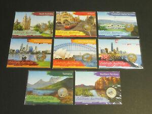 Set-of-8-2009-Celebrate-Australia-Coloured-1-Coins-COMPLETE-SET