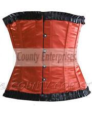 Shaper Cincher Sexy Full Steel Bone Spiral Waistbust Lace up Red Satin Corset