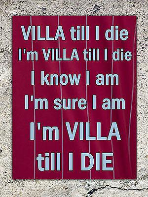 ASTON Villa villians Fan Football Plaque Signe