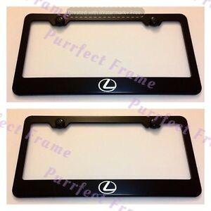 2XLexus-Logo-Black-Stainless-Steel-Lexus-License-Plate-Frame-Rust-Free-W-Boltcap
