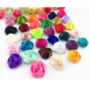 10-50PCS-25MM-DIYSatin-Ribbon-Rose-Flower-DIY-Craft-Wedding-Appliques