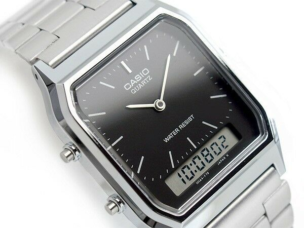 Casio AQ-230A-1D Vintage Retro Stainless Steel Black Dial Watch