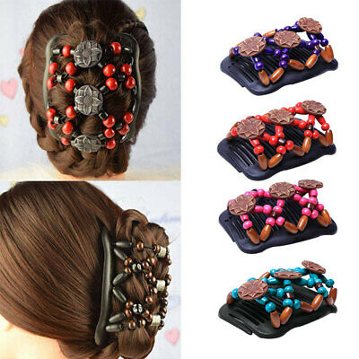 Elastic  Double Hair Combs Clips Stretchable Bun Maker Women