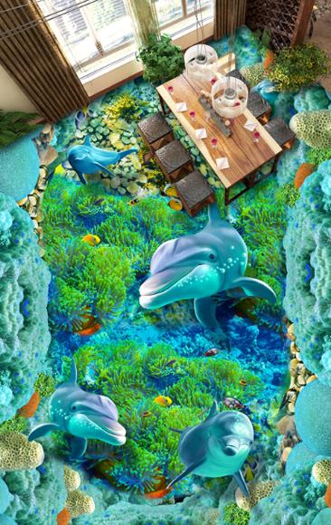 3D Delphine Blau 726 Fototapeten Wandbild Fototapete Tapete Familie DE Lemon