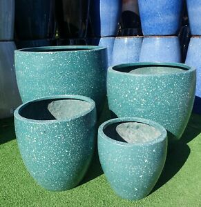 Outdoor-Garden-Patio-Planter-Pot-Modstone-Round-Egg-Montague-Dark-Green-Terrazzo