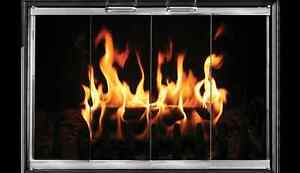 Black Fireplace Glass Doors for Lennox & Superior fireplaces SU28-CV2 | Home & Garden