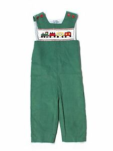 Boy-Green-Corduroy-Orient-Expressed-Smocked-Holiday-Train-Longall-Romper-Size-4