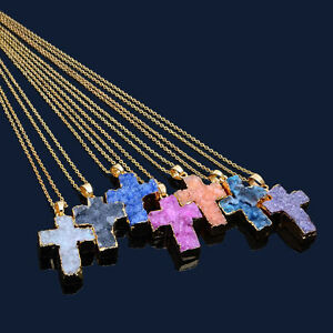 Women-Jewelry-Cross-Stone-Pendant-Gold-Plated-Chain-Gemstone-Necklace-Gift