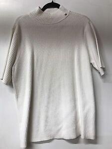 Tommy Hilfiger Woman White Short Sleeve Mock Neck Sweater White