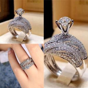 Vintage-925-Silver-White-Sapphire-Birthstone-Wedding-Ring-Jewelry-Sz5-12-Fashion