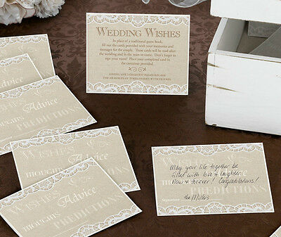 REDUCED SALE 48 x Country Lace Wedding Wishes Cards~Alternative Guest Book
