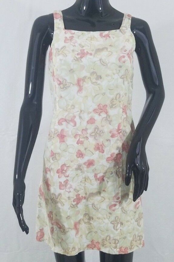 J Crew Womens Mini Dress Size P1 Beige Floral Linen Rayon Blend Sleeveless