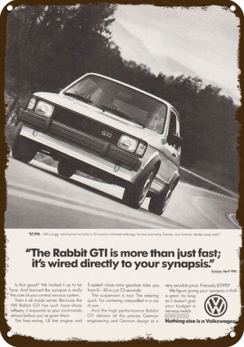 1983 VOLKSWAGEN VW RABBIT GTI Sports Car Vintage Look REPLICA METAL SIGN
