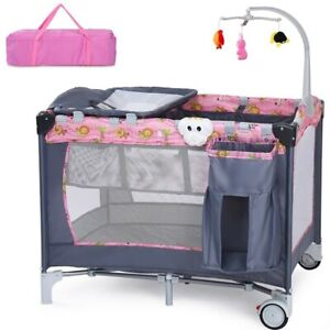 Travel-Baby-Crib-Infant-Folding-Cot-Playpen-With-Toys-Portable-Pink-Bed-Changer
