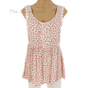 LAUREN-CONRAD-Women-039-s-X-SMALL-PEPLUM-Light-Pink-TOP-Lace-Trim-POLKA-DOTS-Pleats