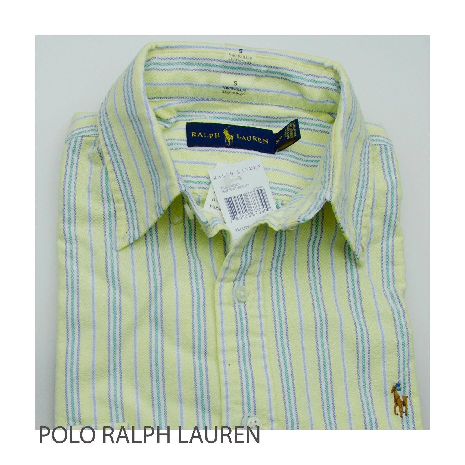 NWT Polo Ralph Lauren Men's Yellow bluee Oxford Sport Shirt STANDARD FIT S M L