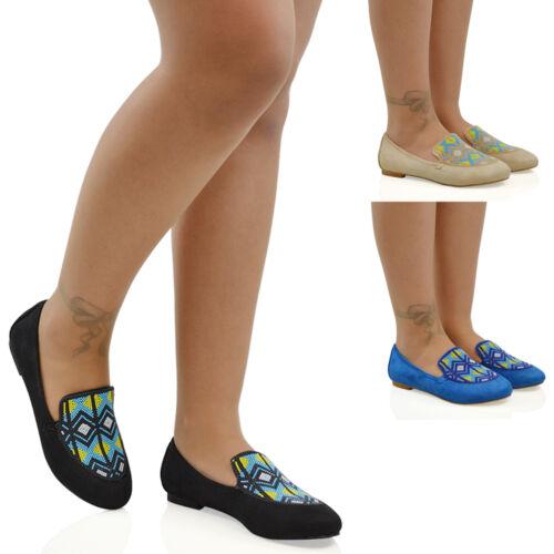 mocassins taille 8 dames brodées On Flat Pumps aztèques Slip Womens 3 Chaussures pour 8OcW7z56v