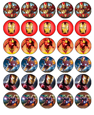 IRONMAN 30 Edible Wafer Paper Cupcake Toppers Birthday ...