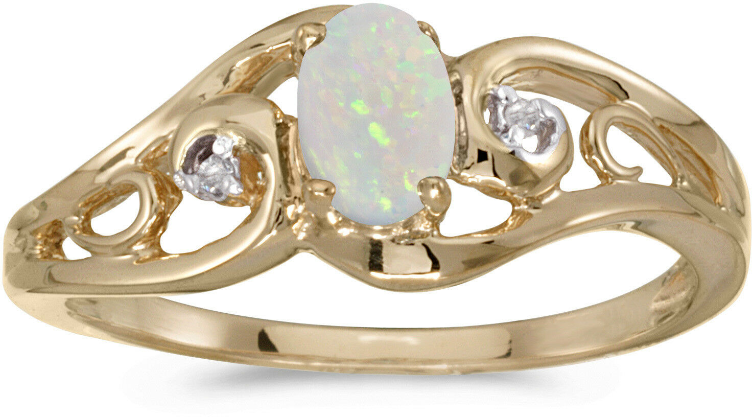 10k Yellow gold Oval Opal And Diamond Ring (CM-RM2590-10)