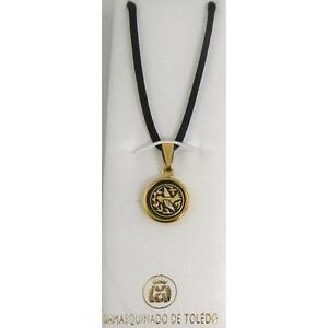 Damascene-Gold-Dove-of-Peace-Design-Round-Shape-Pendant-Necklace-by-Midas