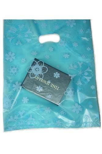 100 Plastic Shopping//Gift Bags Lot 20 x 25cm Blue Flower