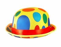 Adult's Fancy Dress Clown Spotted Bowler Hat Circus Accessory