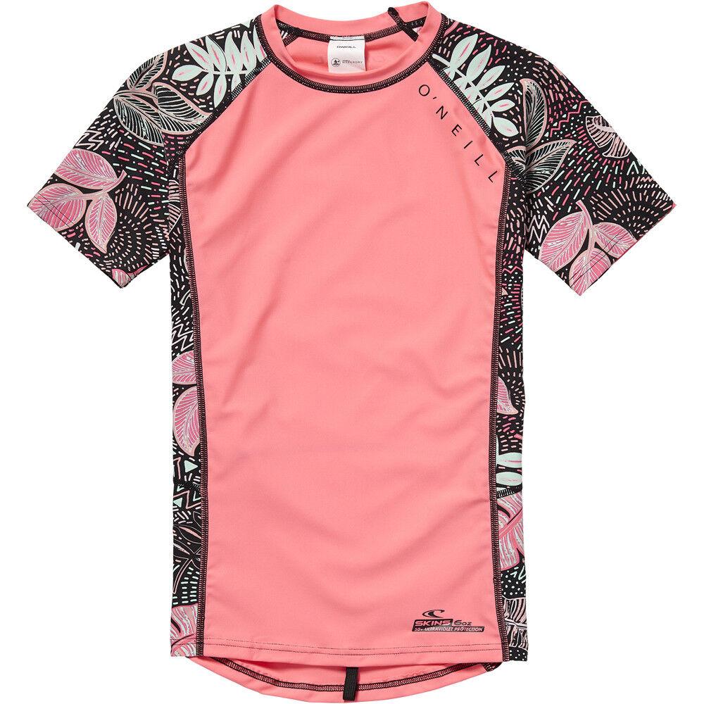 O'Neill Zuma Girls Short-Sleeve Rash Vest, Neon Pink - Kids Rash Guards