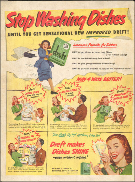 5b2c4f4aa670 Vintage ad for Dreft detergent retro box art glass dishes 092217