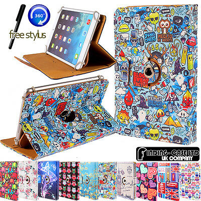 Universal 360 Rotating Wallet Card Slot Stand Leather Case Cover Android Tablet