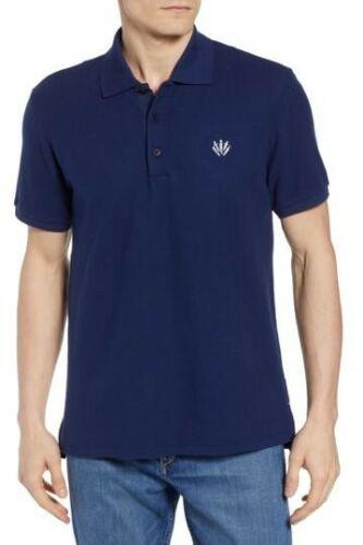 RAG /& BONE Mens DAGGER Pique Knit Regular fit Royal Blue POLO Shirt