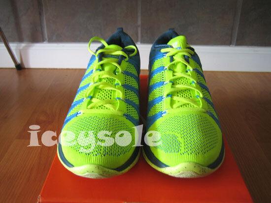 Nike Flyknit Lunar 2  Size 10.5  Volt White-bluee Glow-Night Factor  620465-714