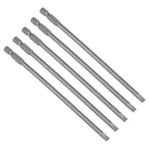 5pcs-150mm-1-4-034-Hex-Shank-SL5-Magnetic-Slotted-Head-Screwdriver-Bit-S2
