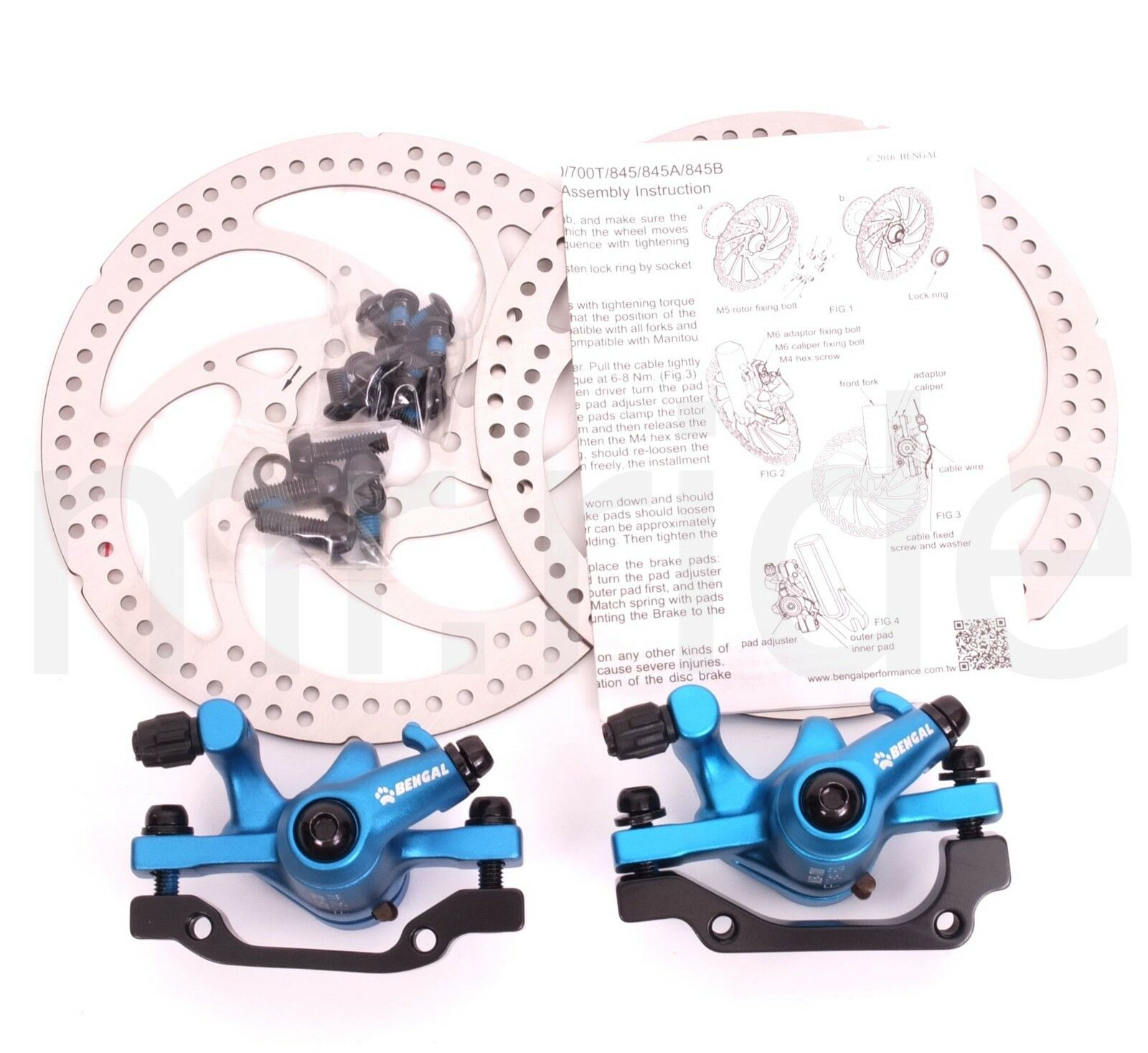 Bengal MTB Mountain Bike Mechancial Disc Brake Set Front+Rear+2x160mm redor bluee