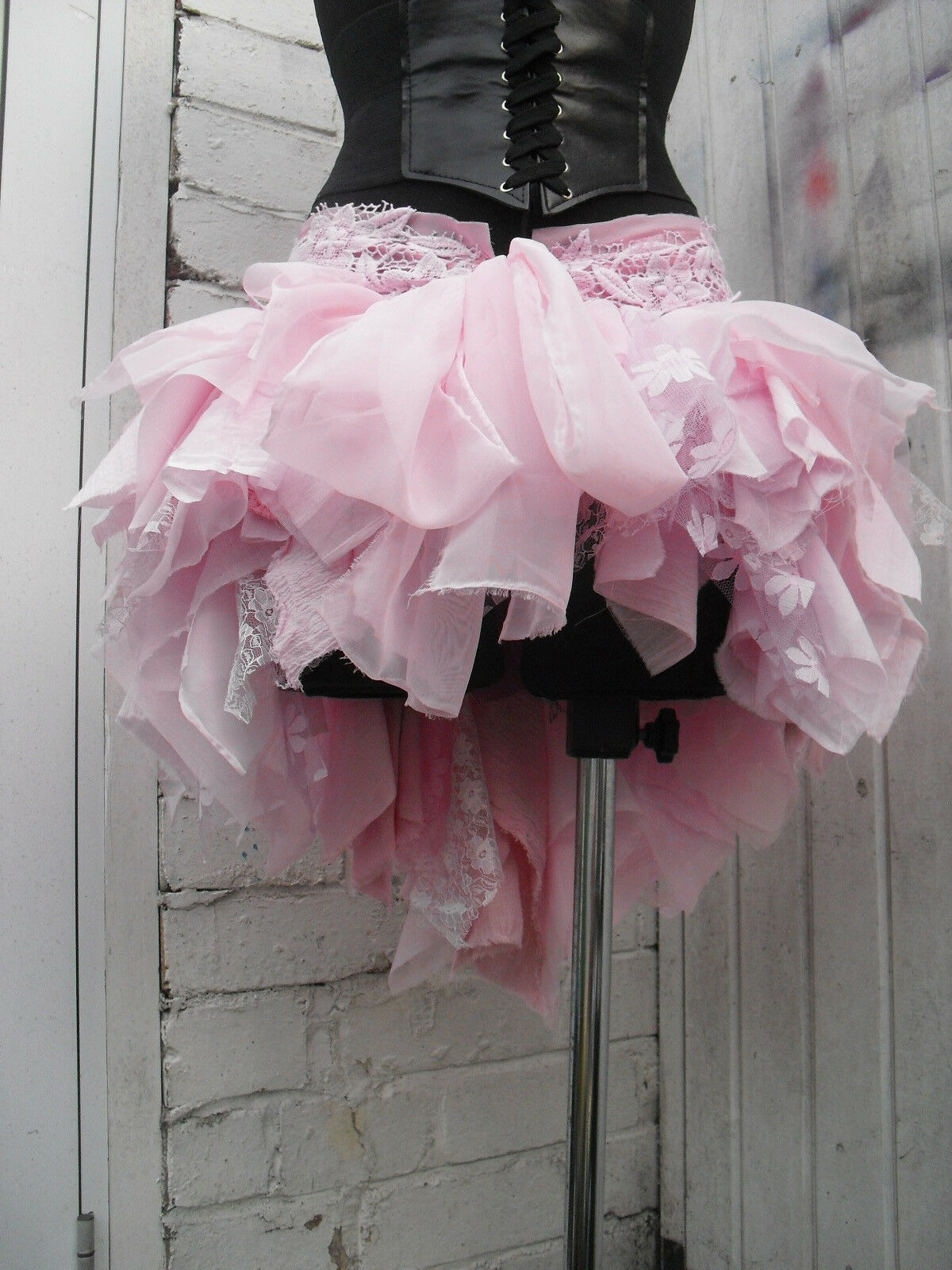 Recycled Quirky pink skirt High Low Festival Kawaii Cosplay Fairy Psy Pixie Elf