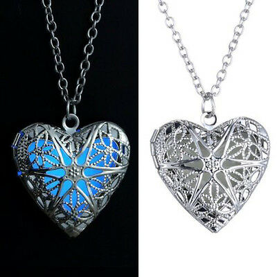 New Hollow Heart Necklace Pendant Luminous Glow In The Dark Locket Jewelry Gifts
