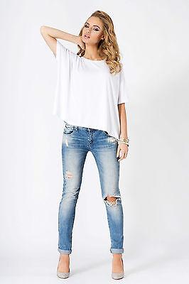Ladies Trendy Top Loose Fit Scoop Neck Short Sleeve Tunic Jumper Sizes 8-18 FM06
