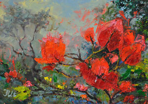 Bougainvillea-Original-framed-oil-on-paper-8-034-x10-034-painting-from-artist