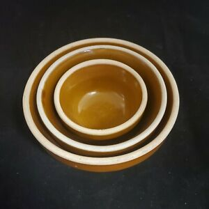 Americana-General-Pottery-Stoneware-3-Stacking-Bowls-Carmel-Colored