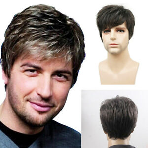 Handsome Mens Short Brown Mixed Straight Hair Wigs Man Curly Layered ... 282d76003927