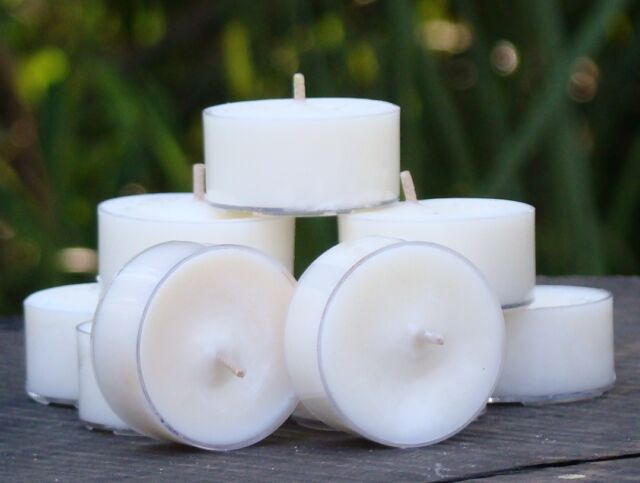 10pk 120hrburn IVORY WHITE WEDDING SOY TEA LIGHT CANDLES CHOOSE YOUR SCENT GIFTS