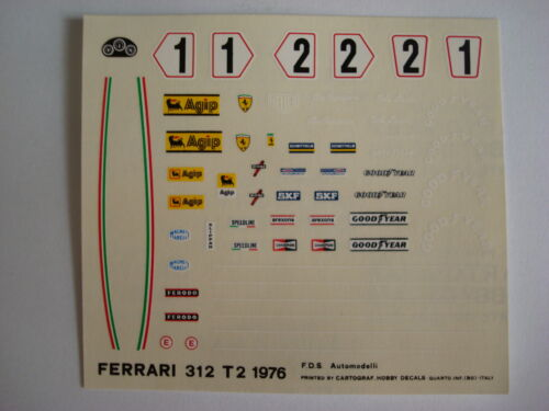 F1 DECALS KIT FERRARI 312 T2 GP SPAGNA 76 LAUDA N.1-2 DECALS