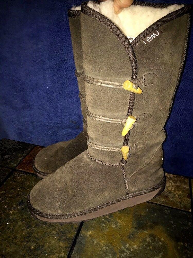 EMU AUSTRALIA Sheep Merino Wool Saber Tooth Toggle Boots Leather Womens Sz 8  ️