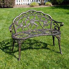 Antique Style Patio Porch Garden Bench Cast Aluminum Outdoor Chair Rose Design