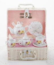 Children's Porcelain Tea Set for 2-Daisy in White Plastic Picnic Basket #8117-3