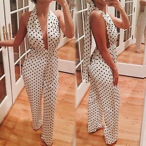 Black White Polka Dot Jumpsuit Long Pants Size X Small Sash Xs Ebay