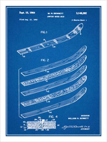 1962 Bennett Jumping Water Skis Patent Print Art Drawing Poster 18X24