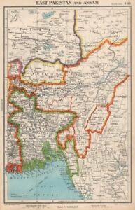 Map Of Asia Bhutan.Details About South Asia East Pakistan Assam Bhutan Independent Sikkim Tibet 1952 Map